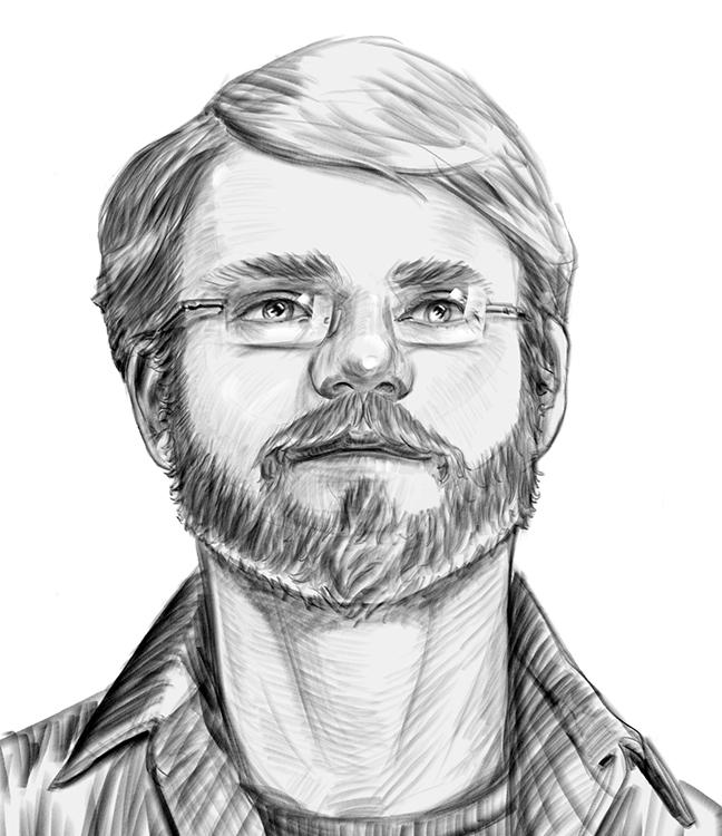 Zeichnung: Junger Mann mit kurzem Vollbart und dünner Brille. Selbstportrait Rasmus Borkamp