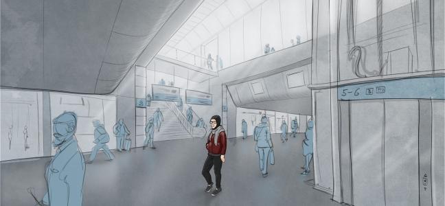 Illustration: Junges Mädchen mit Kopftuch geht durch eine Bahnhofshalle