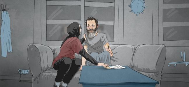 Illustration: Junges Mädchen mit Kopftuch sitzt neben ihrem Vater und erhält ein Dokument