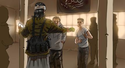 Illustration: IS-Kommandeur überreicht zwei jungen Männern Bargeld und ein Smartphone