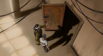 IS-Kommandeur führt jungen Mann durch eine schwere Tür in einen dunklen Raum