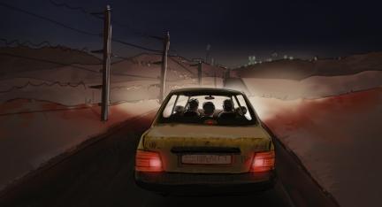 Illustration: Taxi mit drei Insassen fährt bei Nacht an der syrisch-türkische Grenze entlang.