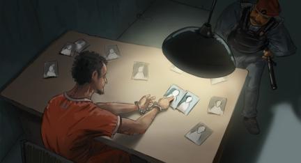 Illustration: Geheimdienstoffizier mit Knüppel und Schnauzbart verhört Gefangenen in organgem Overall in spärlich beleuteter Zelle.