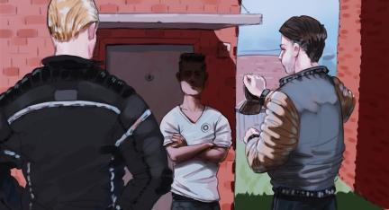 Illustration: Zwei Zivilbeamte sprechen einen jungen Mann vor einer Flüchtlingsunterkunft an