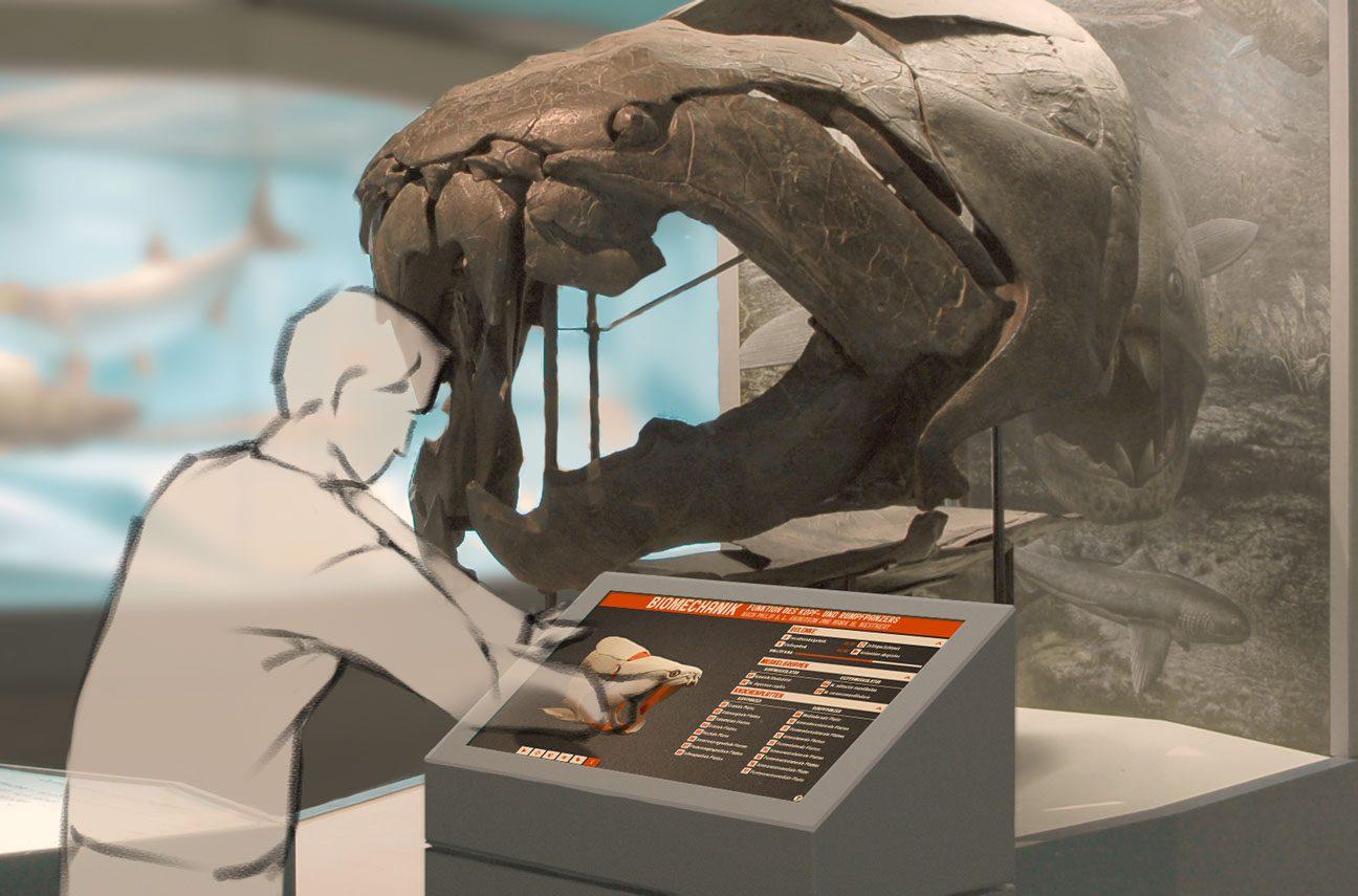 Fotomontage: Schemenhafter Mensch bedient Touchscreen vor Dunkleosteus-Schädel im Musuem