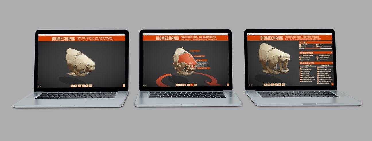 Fotomontage: Drei geöffnete Laptops mit unterschiedlichen Ansichten eines Dunkleosteus-Schädels und diverser Interface-Elemente.