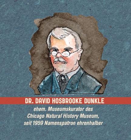 Illustration: Portrait eines Mannes mit Schnauzbart und runder Brille (Dr. David Hosbrooke Dunkle) Aquarell