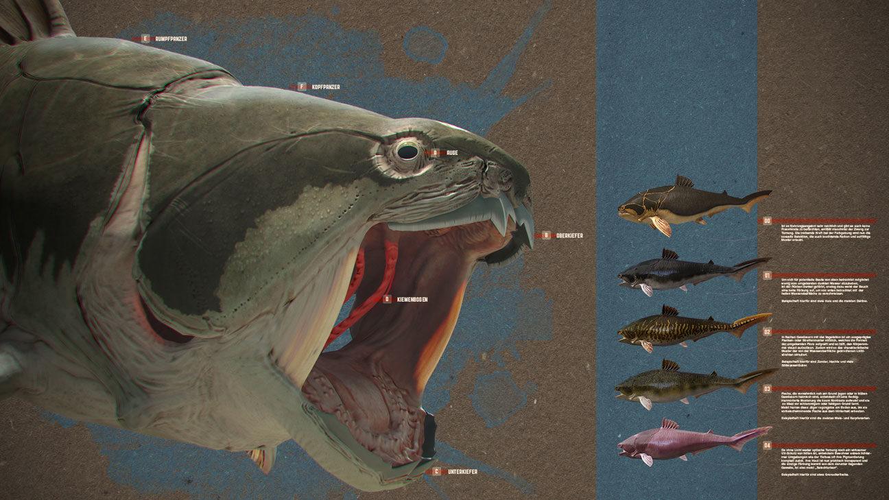 3D-Illustration: Kopf des Dunkleosteus mit geöffnetem Maul, daneben unterschiedliche Farbvarianten für die Lebendrekonstruktion des Panzerfisches