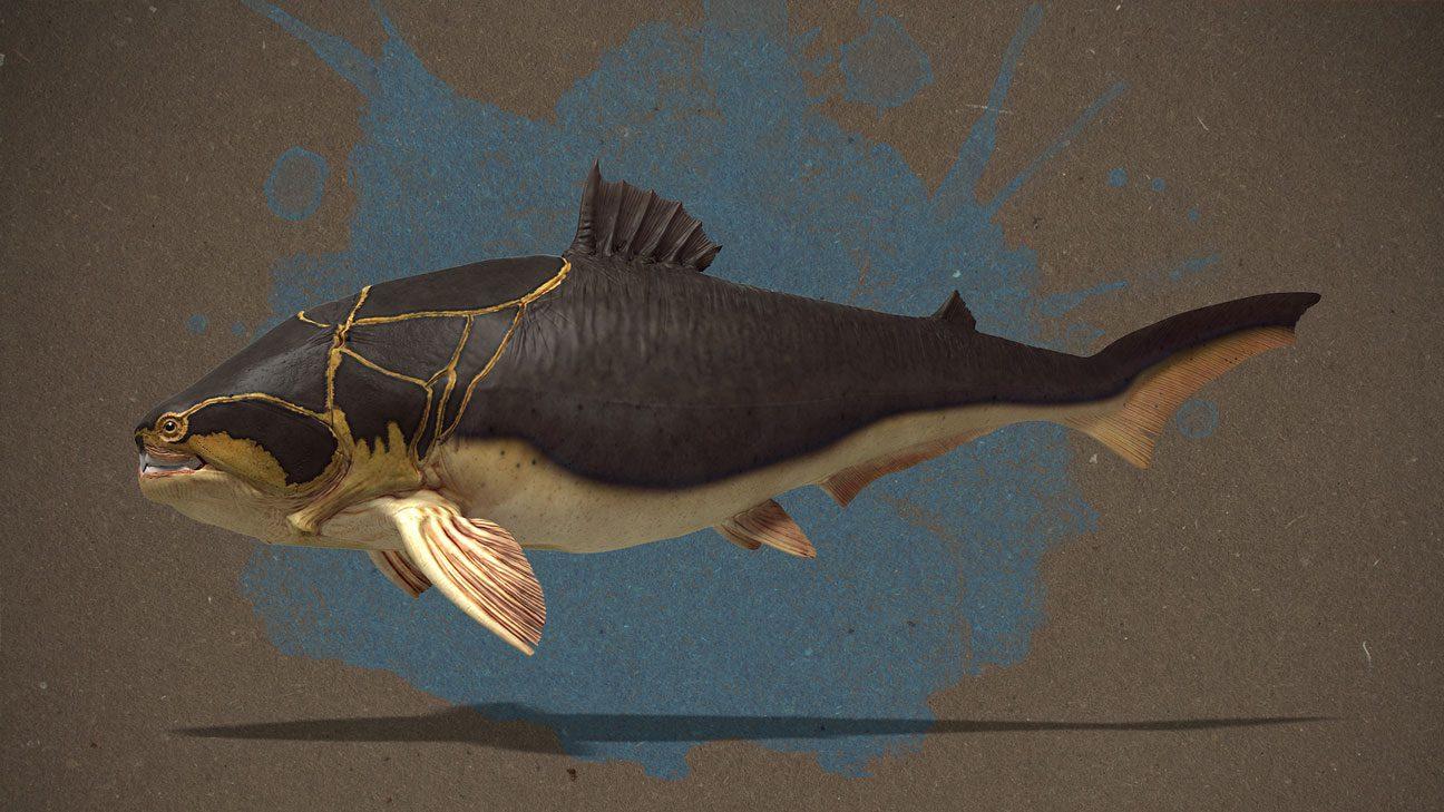 3D-Illustration: Lebendrekonstruktion d. Dunkleosteus Terrelli mit gelblichem Bauch und goldgelben Akzenten an den Panzerplatten