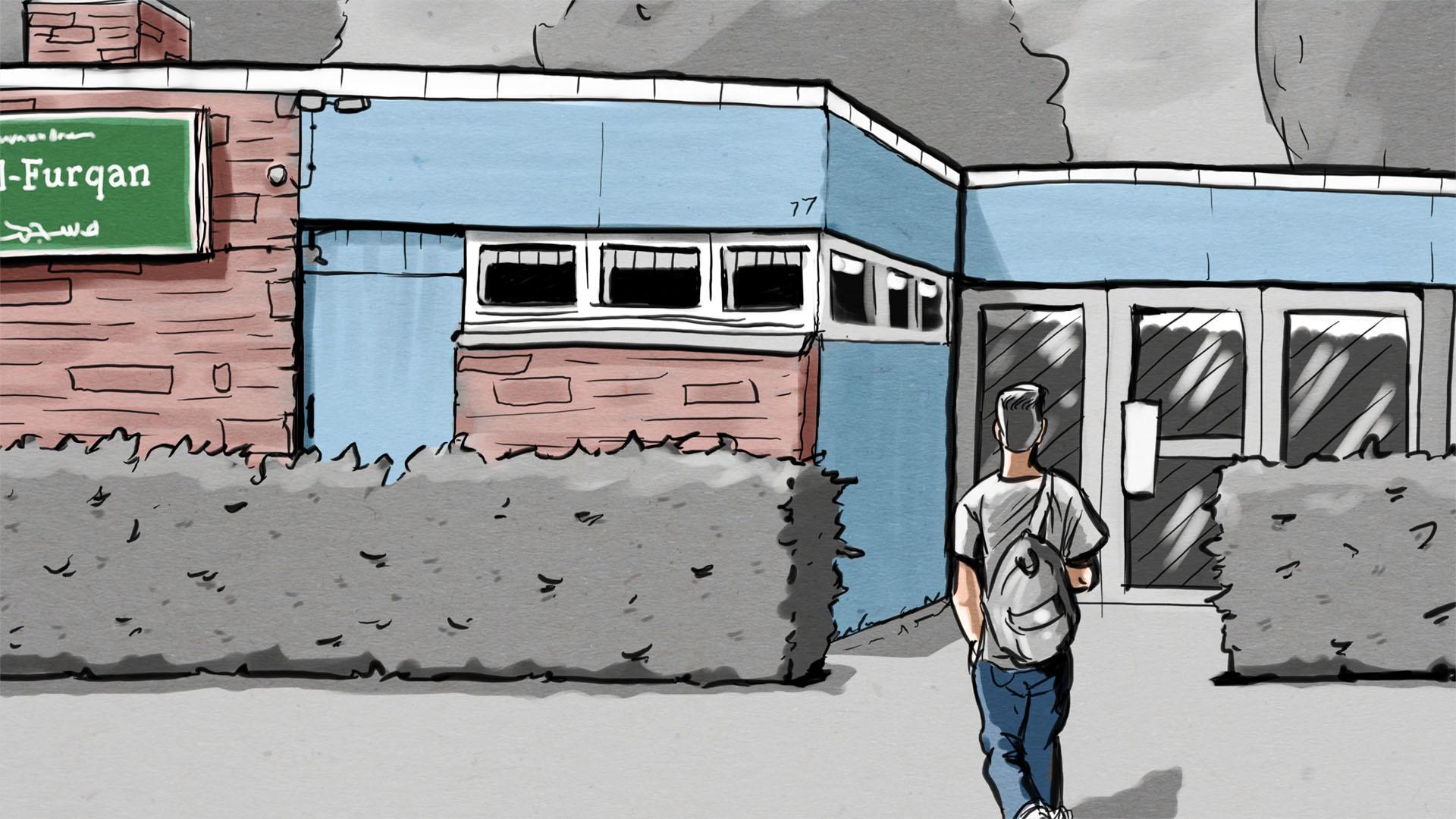 Illustration: Jugendlicher Angeklagter geht auf den Eingang einer Bremer Moschee zu.
