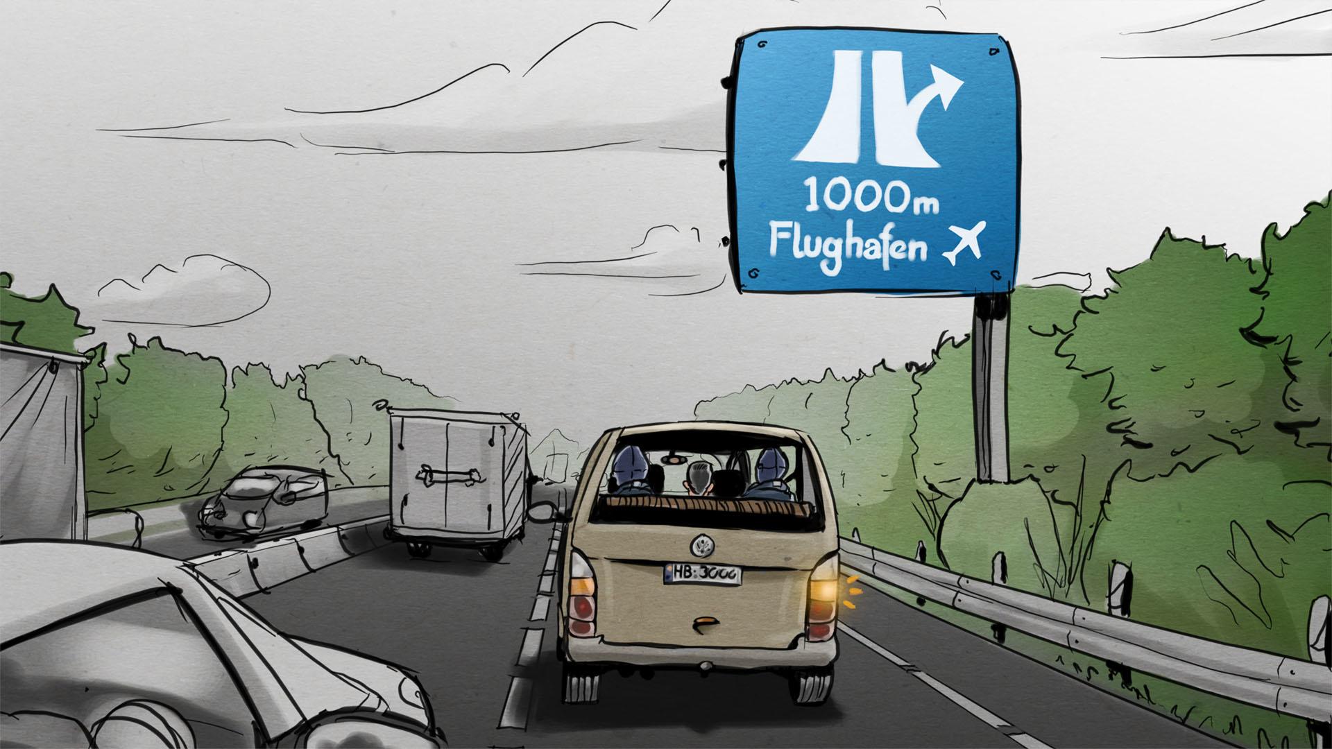 Illustration: Verdächtiger wird von vermummten Bundespolizisten in einem Minivan zum Flughafen gefahren.