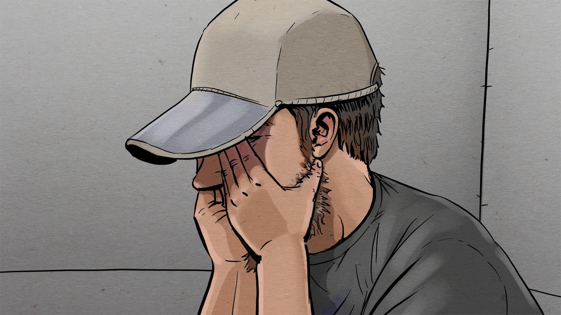 Illustration: Nahaufnahme des Angeklagten, dieser trägt eine Schirmmütze und schlägt die Hände vorm Gesicht zusammen