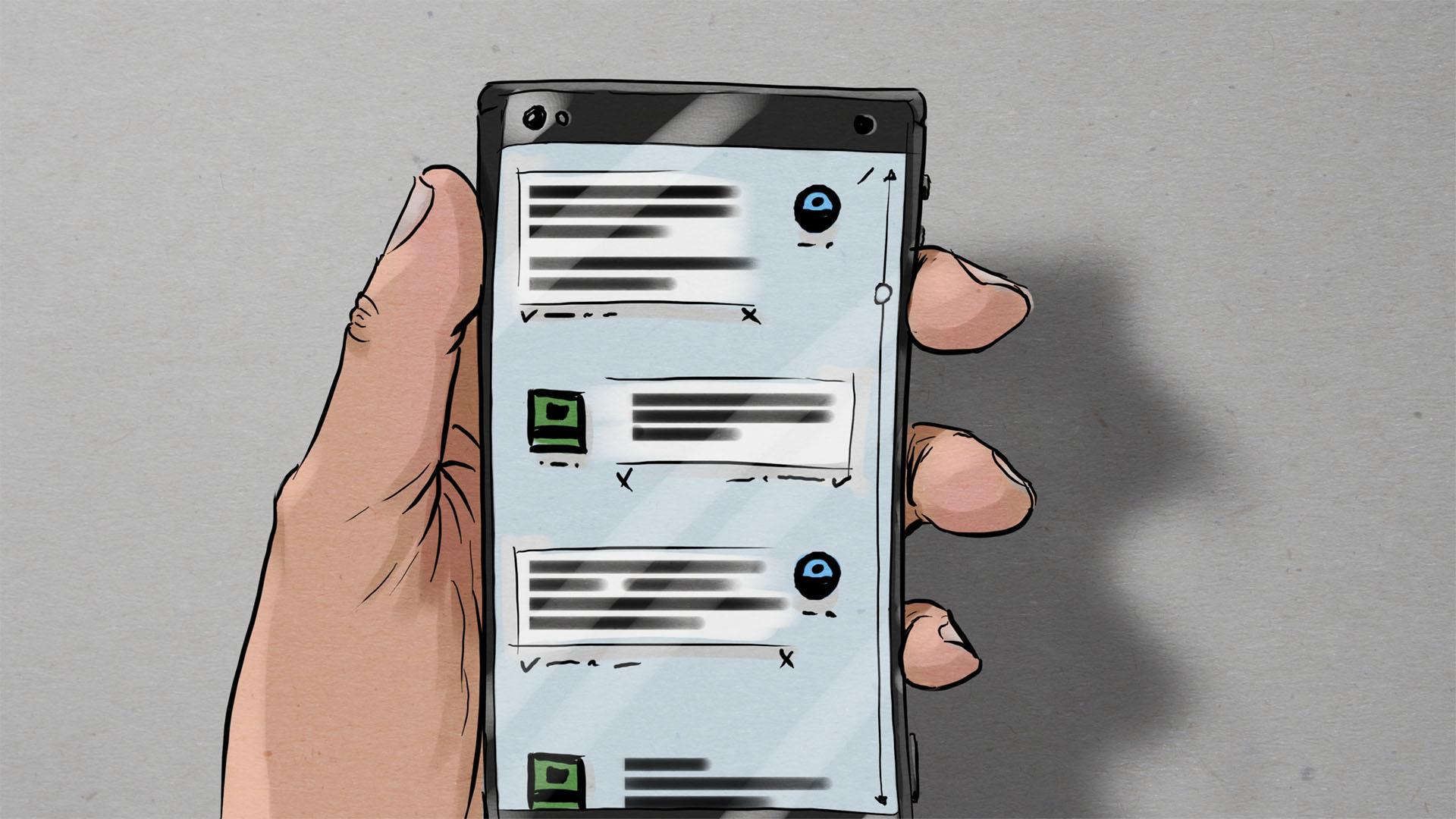 Illustration: Hand des Verdächtigen mit Smartphone auf dem ein Chatverlauf zu sehen ist
