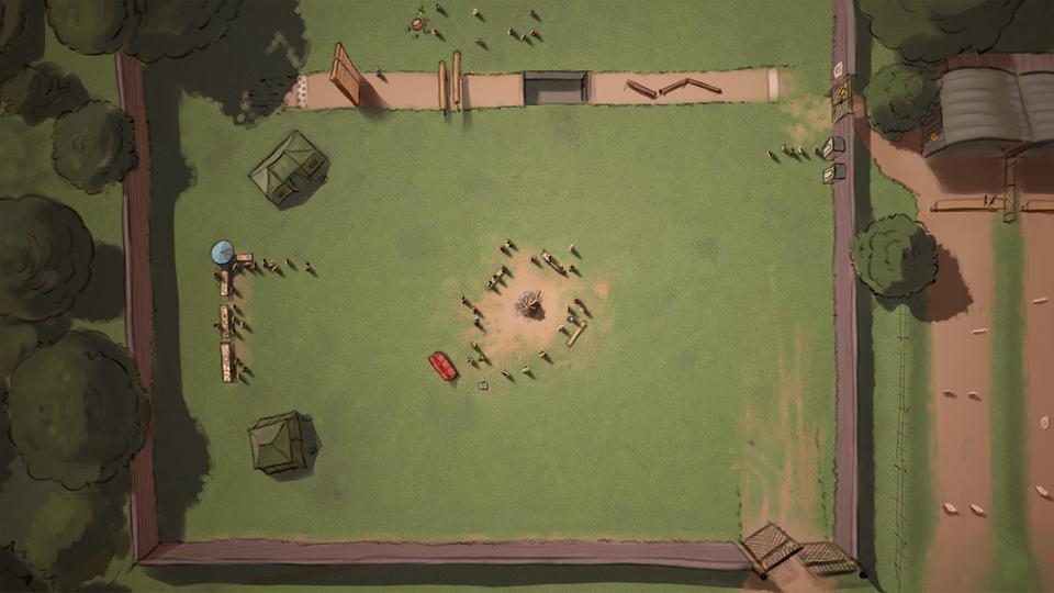 Illustration: Luftbild einer Wiese mit einer Feuerstelle, diversen Zelten und einem angrenzenden HIndernisparkour