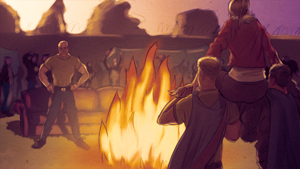 Illustration: Junge Frau wird von zwei Männern auf Schultern um ein Lagerfeuer getragen und dem Kompaniechef als 'Preis' übergeben
