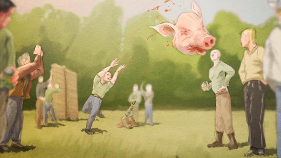Illustration: Kompaniechef steht mit Kameraden in Zivil auf einer Wiesee und wirft einen abgetrennten Schweinekopf