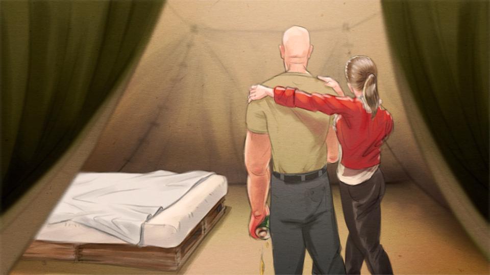 Illustration: Junge Frau führt betrunkenen Mann in ein erleuchtetes Zelt mit Bett