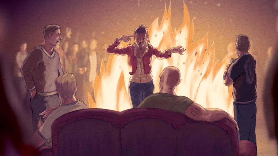 Illustration: Junge Frau steht vor Lagerfeuer und streitet sich mit vier desinteressiert wirkenden Männern.
