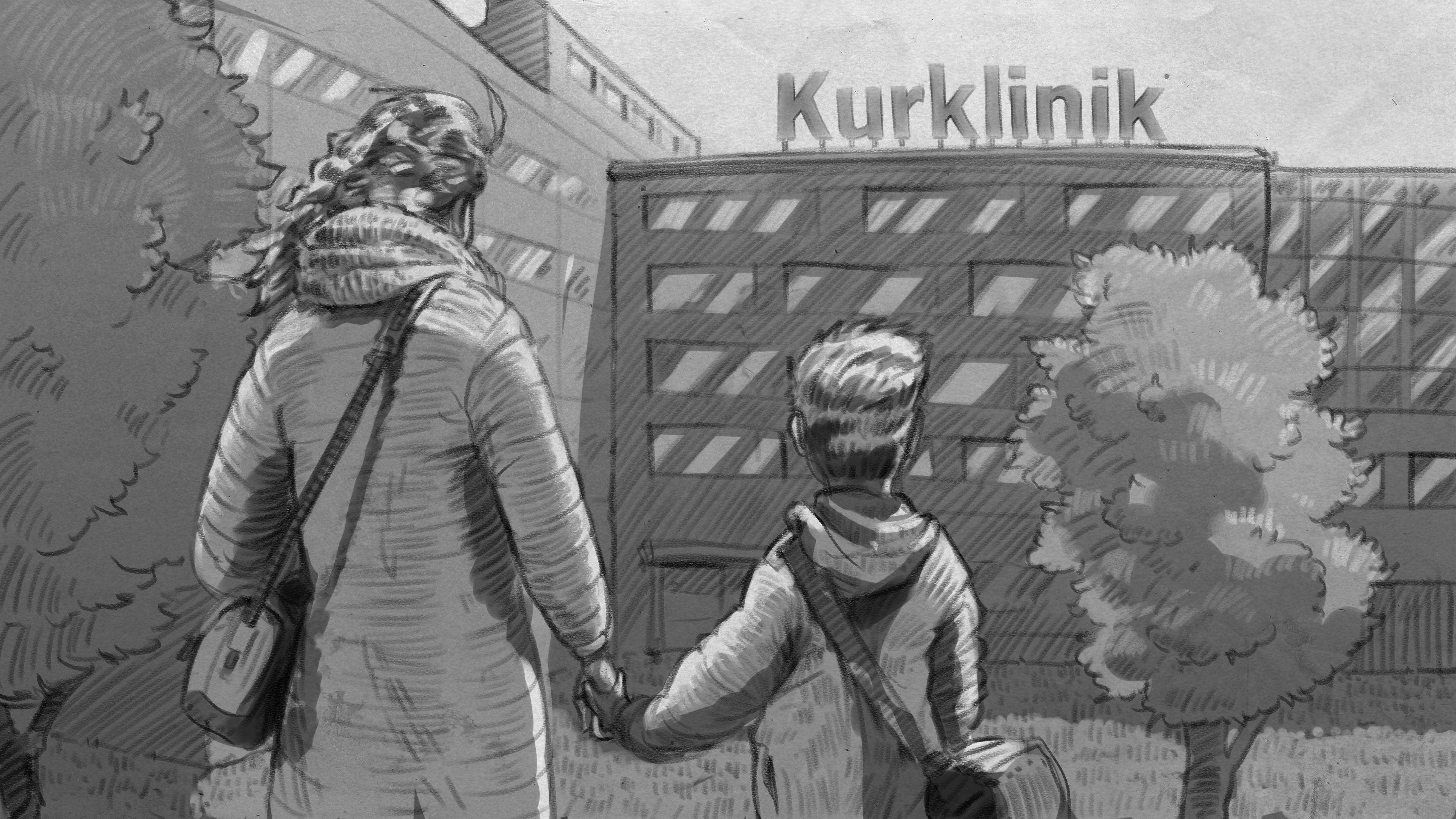 Illustration: Mutter und Sohn stehen Hand in Hand vor Kurklinik