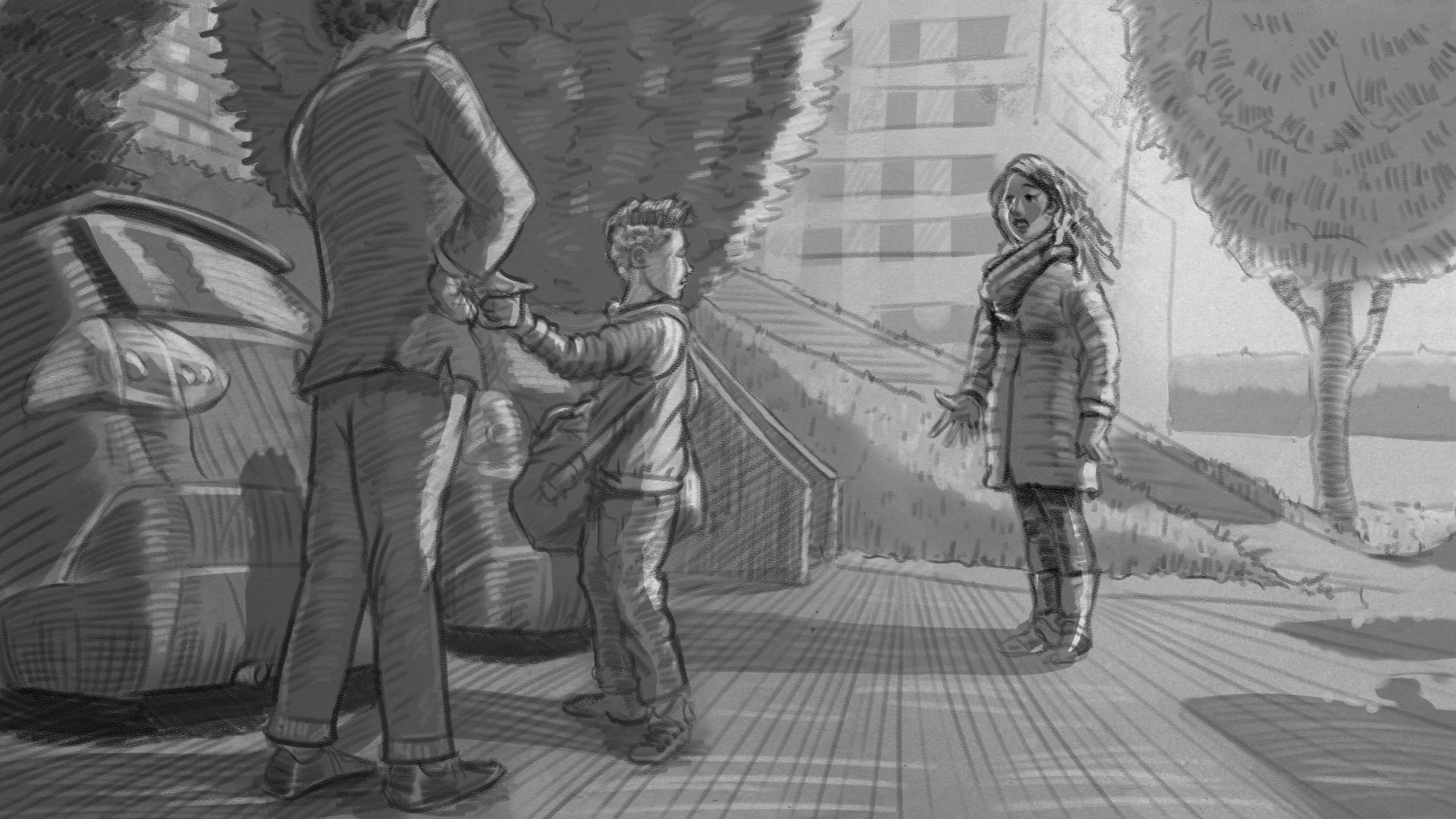 Illustration: Vater, Sohn und Mutter auf Parkplatz