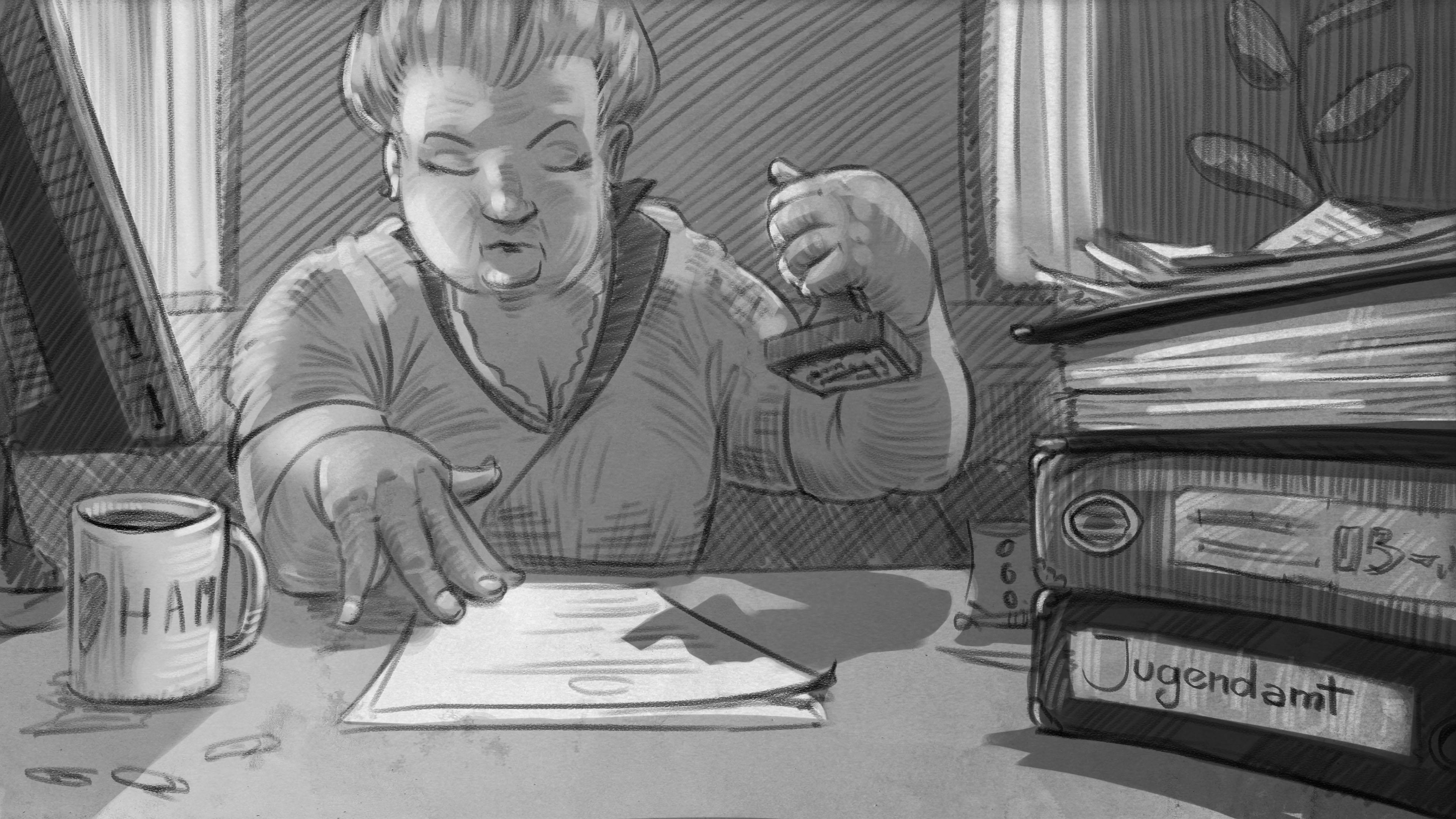Illustration: Jugendamt-Sachbearbeiterin stempelt Antrag