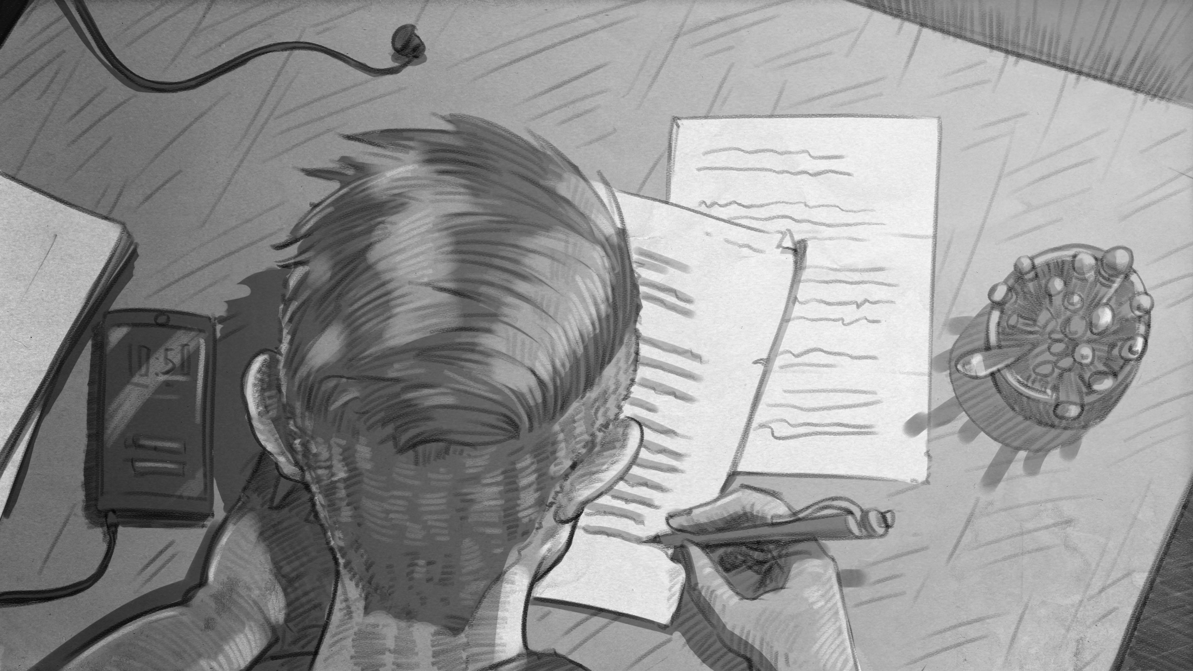 Illustration: Junge sitzt an Schreibtisch und schreibt einen Brief
