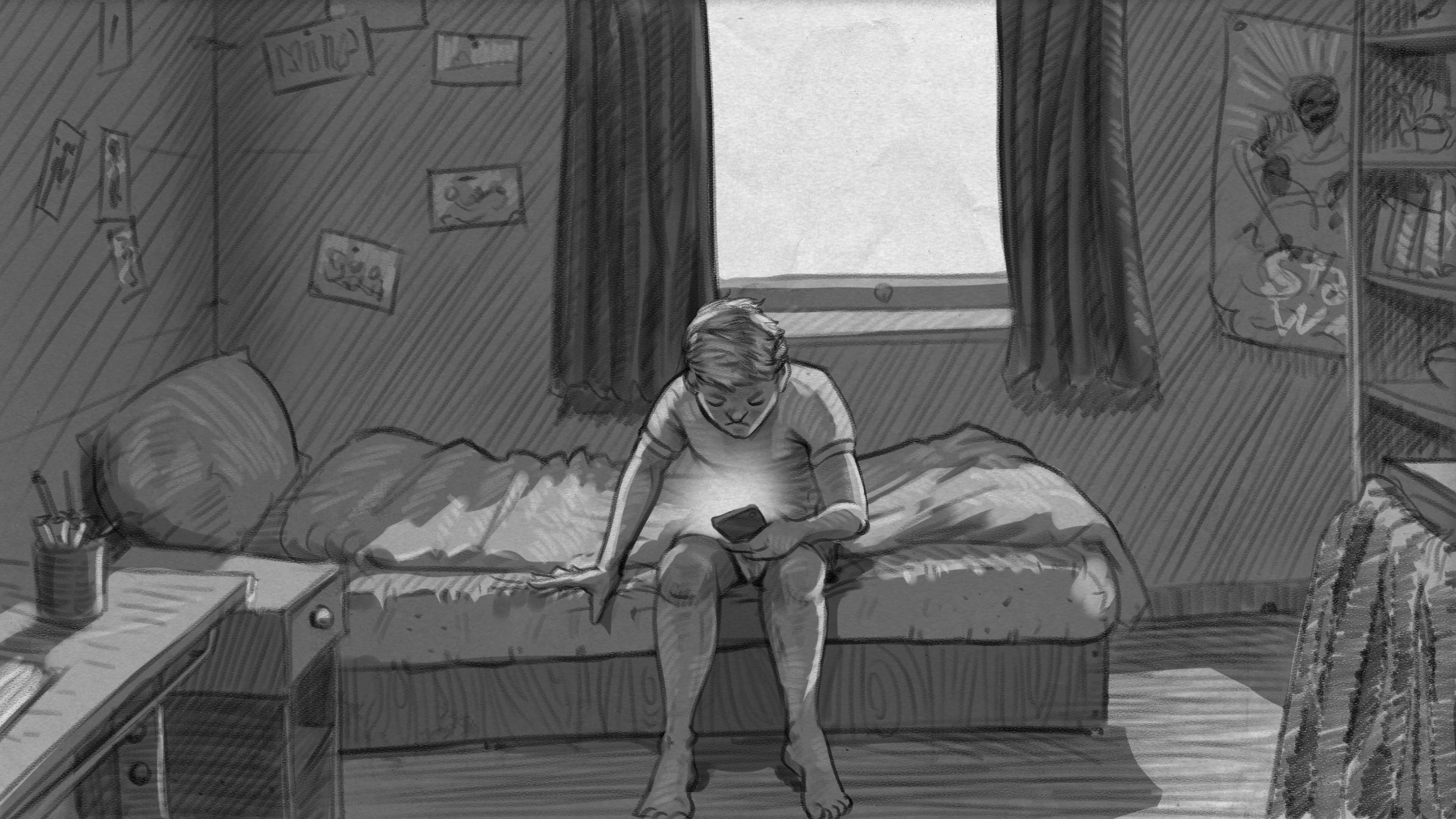 Illustration: Junge sitzt auf Bett und schaut auf Handy